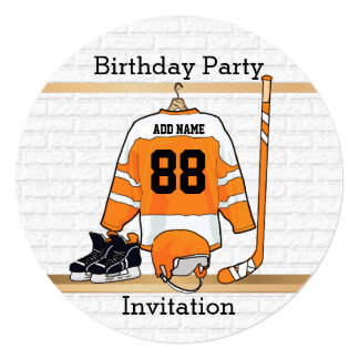 "Orange and White Ice Hockey Jersey Birthday Party 5.25"" Square Invitation Card"