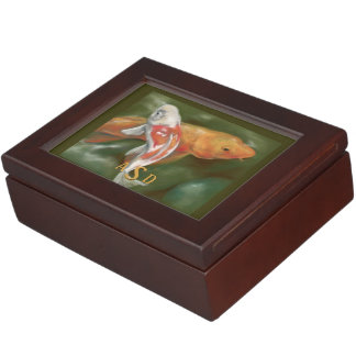 Orange and White Koi Pastel Art Monogrammed Keepsake Box