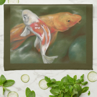 Orange and White Koi with Mossy Stone Personalized Kitchen Towel
