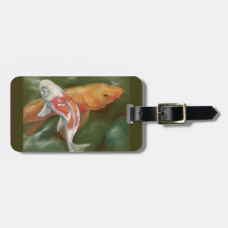 Orange and White Koi with Mossy Stone Personalized Luggage Tag