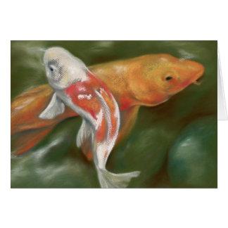 Orange and White Koi with Mossy Stones Pastel Art Card