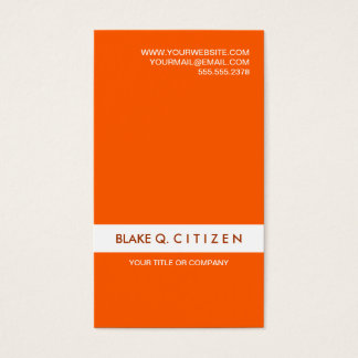Orange and white modern clean business card