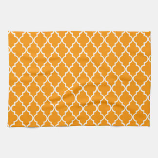 Orange And White Moroccan Trellis Pattern Kitchen Towel