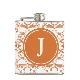 Orange and white Motif with Custom Monogram Hip Flask