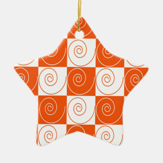 Orange and White Mouse Tails Ceramic Star Ornament