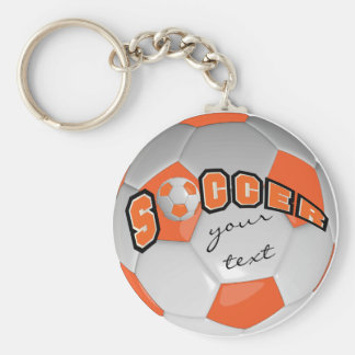 Orange and White Personalize Soccer Ball Keychain