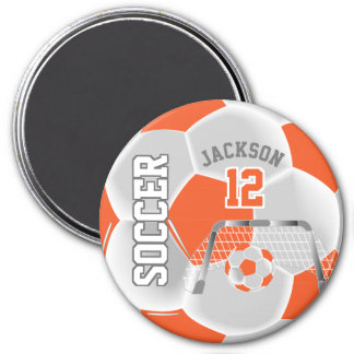 Orange and White Personalize Soccer Ball Magnet