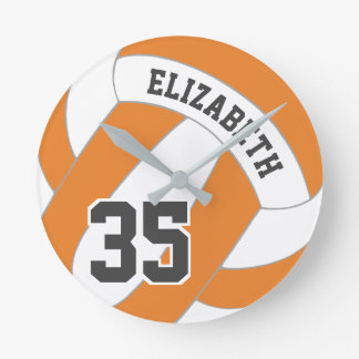 Orange and white personalized women's volleyball round clock