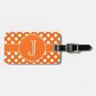 Orange and White Polka-Dot Monogrammed Luggage Tag