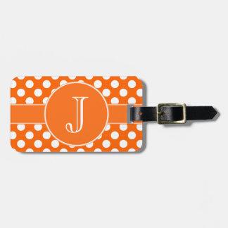 Orange and White Polka-Dot Monogrammed Luggage Tag