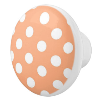 Orange and white Polka dot pattern Ceramic Knob