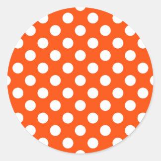 Orange and White Polka Dot Sticker