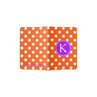 Orange and White Polka Dot With Purple Monogram Passport Holder