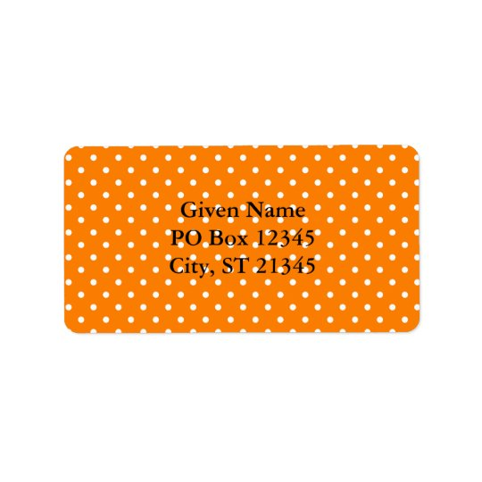 Orange and White Polka Dots Label
