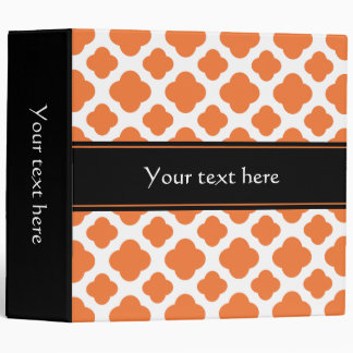 Orange and White Quatrefoil Pattern 3 Ring Binders