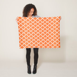 Orange and White Quatrefoil Pattern Fleece Blanket