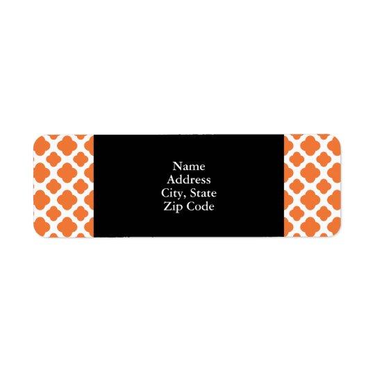 Orange and White Quatrefoil Pattern Return Address Label