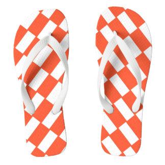 Orange And White Rectangles Retro Pattern Flip Flops