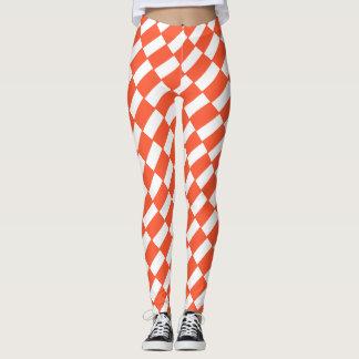 Orange And White Rectangles Retro Pattern Leggings
