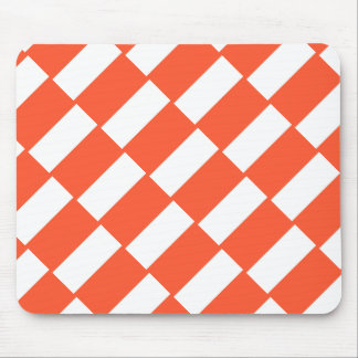 Orange And White Rectangles Retro Pattern Mouse Pad