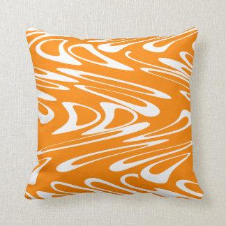 Orange and White Retro Pattern. Throw Pillow