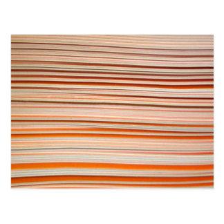 Orange and white stripe design wavy postcard