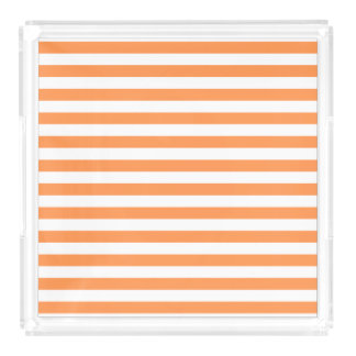 Orange and White Stripe Pattern Acrylic Tray