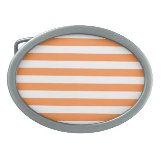 Orange and White Stripe Pattern Belt Buckles