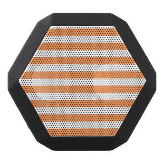 Orange and White Stripe Pattern Black Bluetooth Speaker