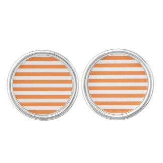 Orange and White Stripe Pattern Cufflinks