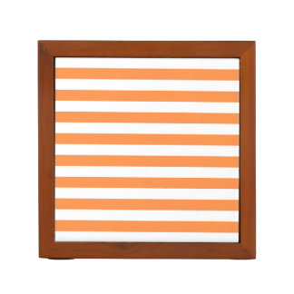 Orange and White Stripe Pattern Desk Organizer