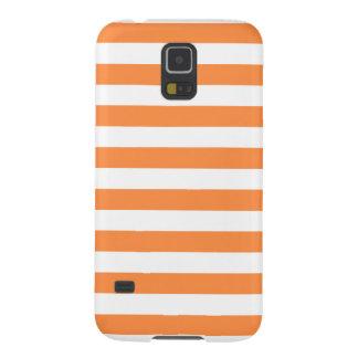 Orange and White Stripe Pattern Galaxy S5 Cover