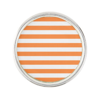 Orange and White Stripe Pattern Lapel Pin