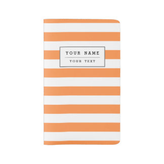 Orange and White Stripe Pattern Large Moleskine Notebook