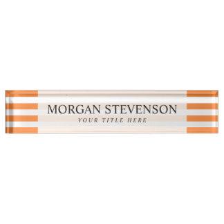 Orange and White Stripe Pattern Name Plate