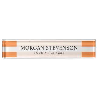 Orange and White Stripe Pattern Nameplate