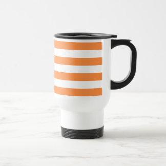 Orange and White Stripe Pattern Travel Mug
