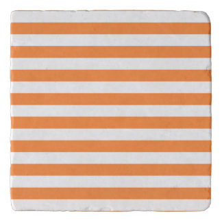 Orange and White Stripe Pattern Trivet