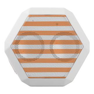Orange and White Stripe Pattern White Bluetooth Speaker