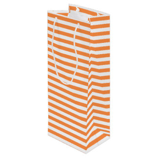 Orange and White Stripe Pattern Wine Gift Bag