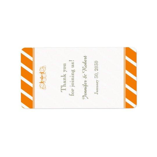 Orange and White Stripe Wedding Lip Balm Label