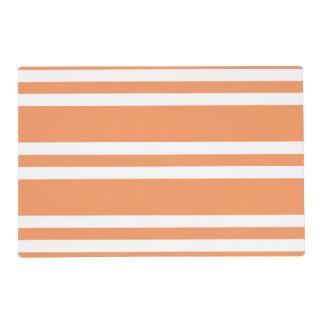 Orange and White Stripes Laminated Place Mat