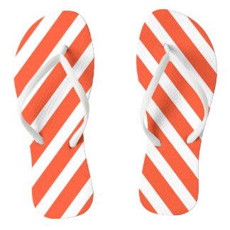 Orange and White Stripes Retro Pattern Flip Flops