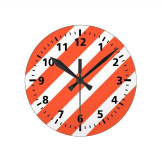 Orange and White Stripes Retro Pattern Round Clock