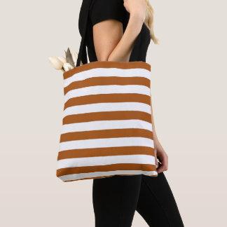 Orange and White Stripes Tote Bag