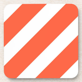 Orange and White Stripes Vintage Pattern Coaster