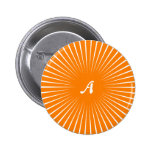 Orange and White Sunrays Monogram Pinback Button