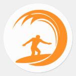 Orange and White Surfing Round Sticker