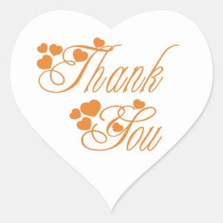 Orange And White Thank You Love Hearts - Wedding Heart Sticker