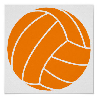 Orange and White Volleyball Posters